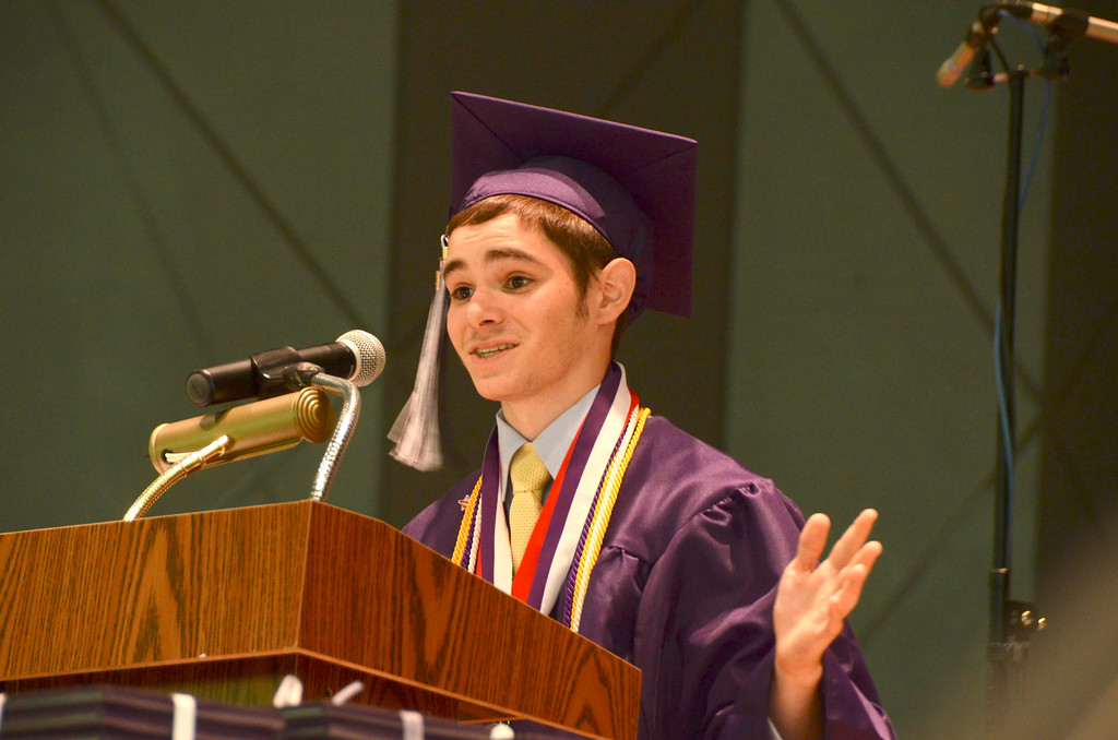 Description of . Pittsfield High School student Thomas Reilly gives the graduation address during commencement exercises at Tanglewood on Sunday, June, 8, 2014. Gillian Jones / Berkshire Eagle Staff / photos.berkshireeagle.com