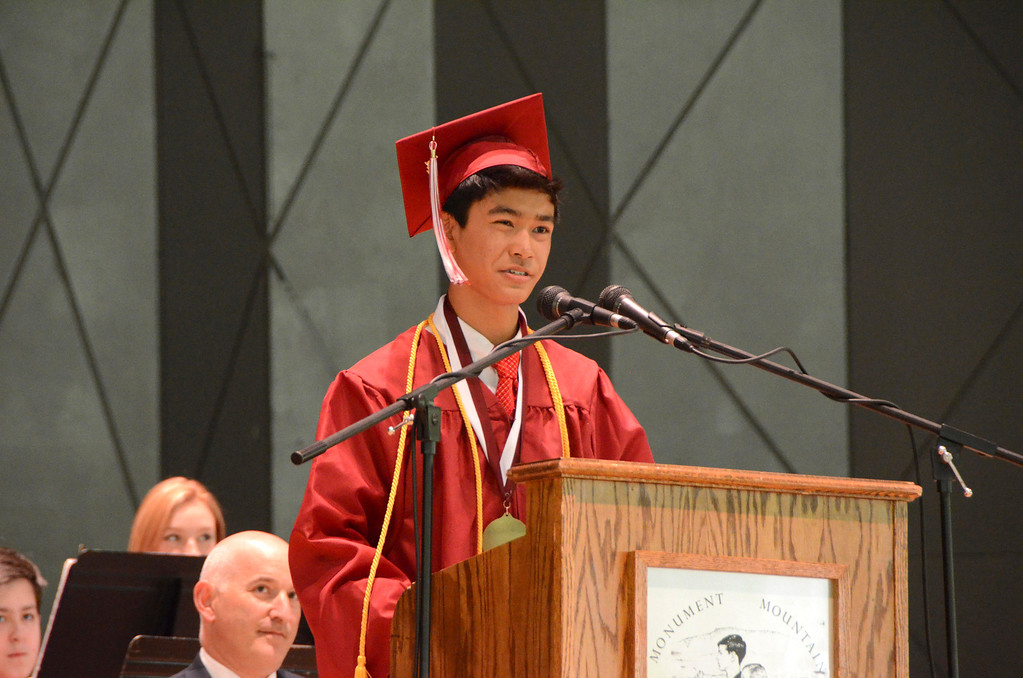 Description of . Salutatorian Kevin Li speaks during Monument Mountain Regional High School exercises at Tanglewood in Lenox on Sunday, June, 1, 2014. Gillian Jones / Berkshire Eagle Staff / photos.berkshireeagle.com