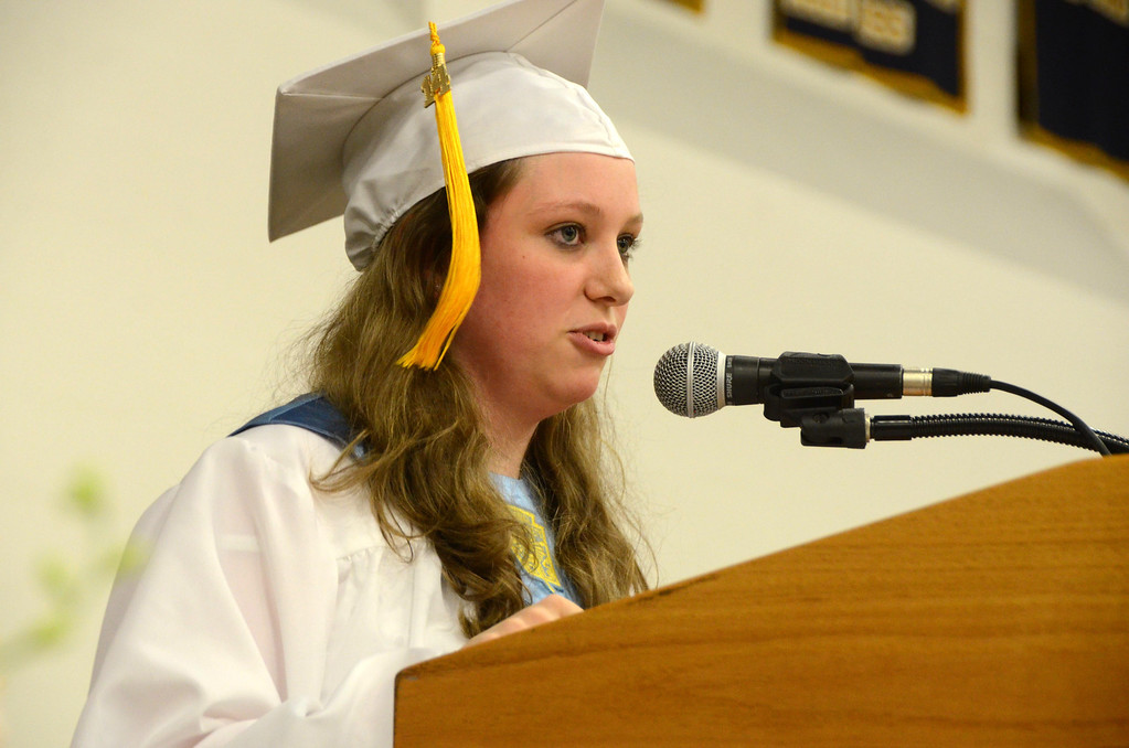 Description of . Valedictorian Makenna Arnold gives the farewell address during graduation exercises of McCann Technical School in the Amsler Campus Center at MCLA on Wednesday, June 4, 2014. Gillian Jones / Berkshire Eagle Staff / photos.berkshireeagle.com