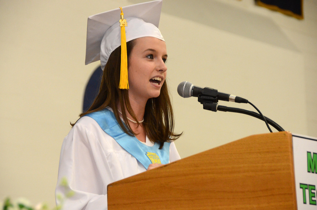 Description of . Salutatorian Jessica Lesure gives her address during graduation exercises of McCann Technical School in the Amsler Campus Center at MCLA on Wednesday, June 4, 2014. Gillian Jones / Berkshire Eagle Staff / photos.berkshireeagle.com
