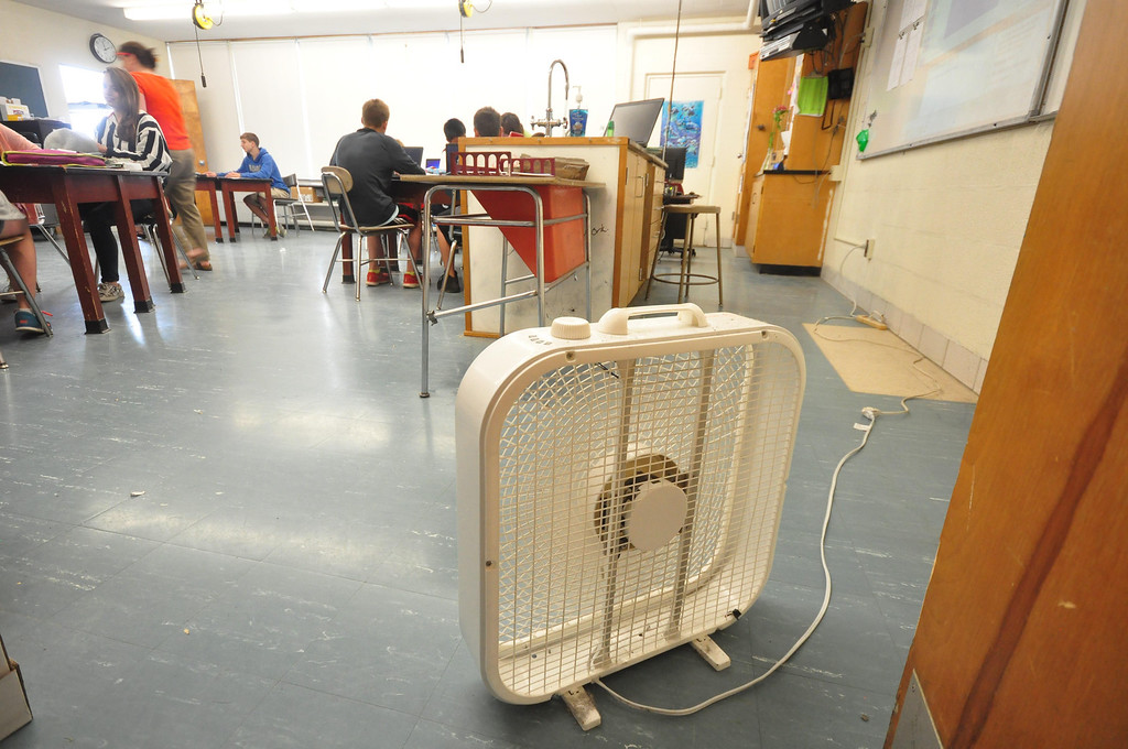 Description of . Ventilation at Mount Greylock Regional High School is still al problem. This classroom uses a fan because the windows are broken and not able to open to allow fresh air in. Gillian Jones / Berkshire Eagle Staff / photos.berkshireeagle.com