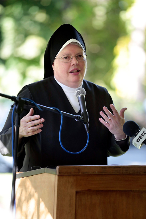 Description of . Mother Mark of the Carmelite Sisters speaks at a press conference announcing the sale of the Providence Care Center from the Sisters of Providence Health System to the Carmelite Sisters at the facility in Lenox. Monday, September 30, 2013. Stephanie Zollshan/Berkshire Eagle Staff.