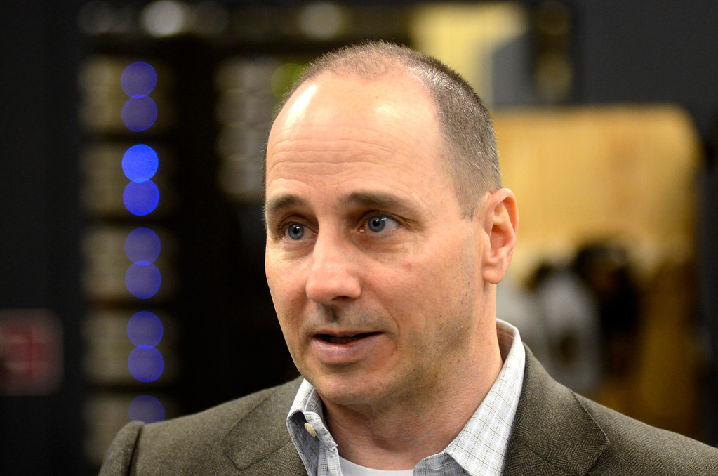 Description of . New York Yankees General Manager Brian Cashman speaks to the media at The Colonial Theater in Pittsfield on Thursday, Jan. 30, 2014. Gillian Jones/Berkshire Eagle Staff