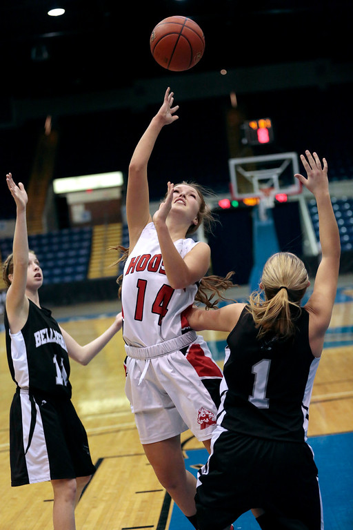 Description of . Hoosac's Jennifer Gale takes a shot in the state semifinal basketball game that they won against Bellingham at the MassMutual Center in Springfield. Tuesday, March 11, 2014. Stephanie Zollshan / Berkshire Eagle Staff / photos.berkshireeeagle.com