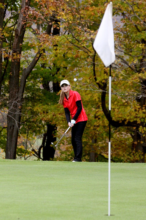 Description of . Lilly Crolius, of Mount Greylock, plays at the Pontoosuc Lake Country Club on Thursday, Oct. 10, 2013.  (Holly Pelczynski/Berkshire Eagle)