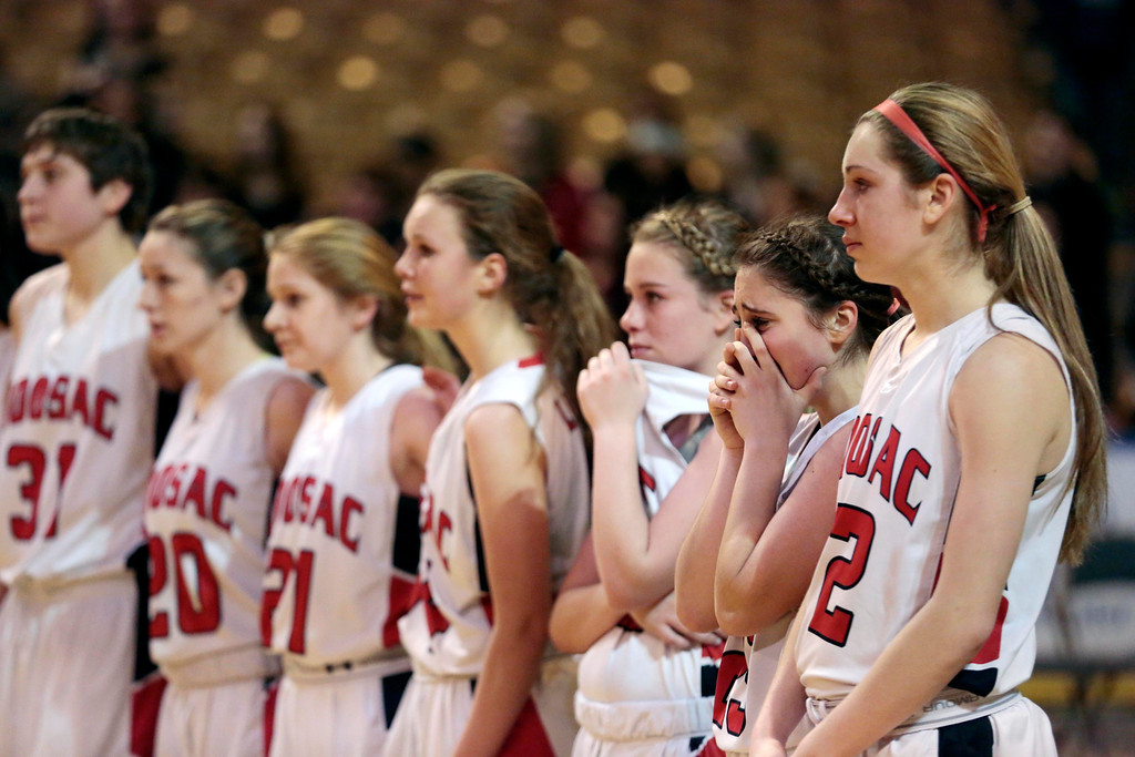Description of . The Hoosac girls basketball team waits for their second place medals after being defeated by St. Mary's in the state championship game in Worcester. Saturday, March 15, 2014. Stephanie Zollshan / Berkshire Eagle Staff / photos.berkshireeagle.com