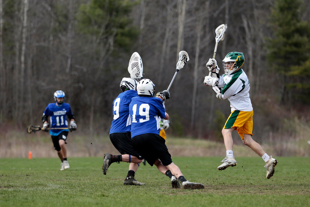 Description of . Taconic's Brad Cobb takes a shot on goal during a lacrosse game against Wahconah at Taconic High School in Pittsfield. Wednesday, May 7, 2014. Stephanie Zollshan / Berkshire Eagle Staff / photos.berkshireeagle.com