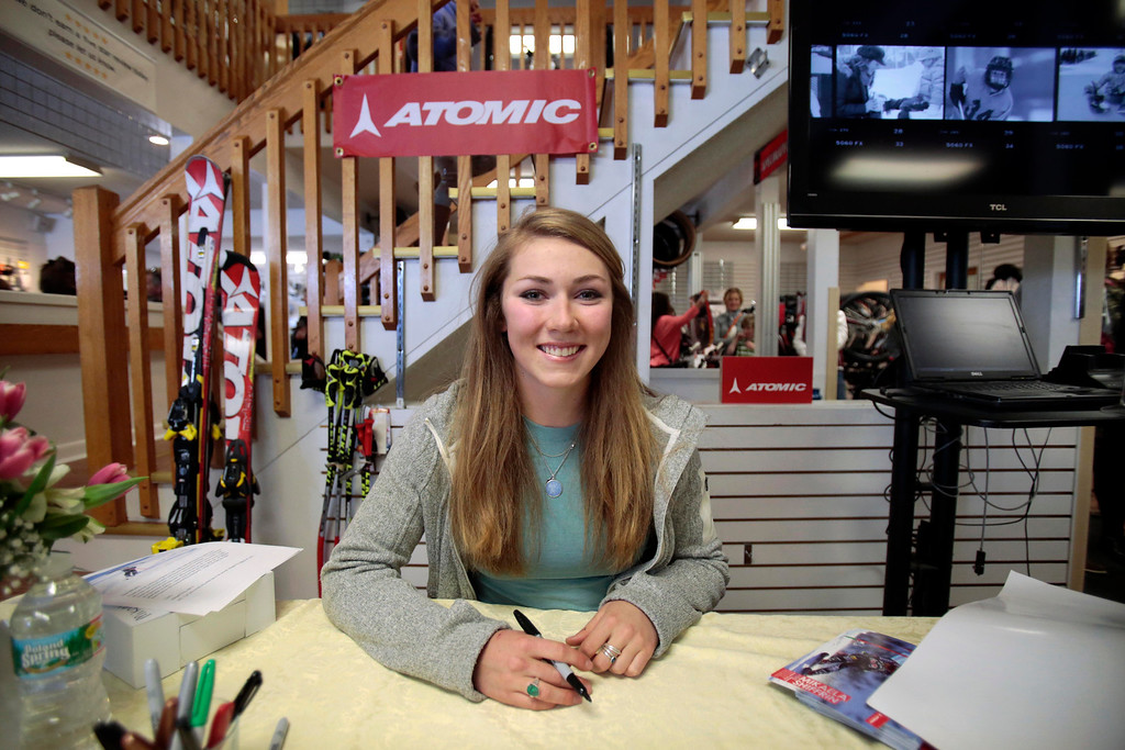 Description of . Sochi Olympic gold medalist Mikaela Shiffrin visits Plaine's Bike, Ski and Snowboard to meet fans and sign autographs. Wednesday, April 9, 2014. Stephanie Zollshan / Berkshire Eagle Staff / photos.berkshireeagle.com