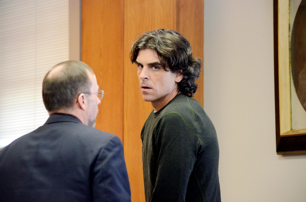 Description of . Christopher Blair is arraigned in  South Berkshire District Court (Great Barrington)  for the robbery of the Lee Bank branch in Stockbridge, Thursday March 20, 2014.  Ben Garver / Berkshire Eagle Staff / photos.berkshireeagle.com