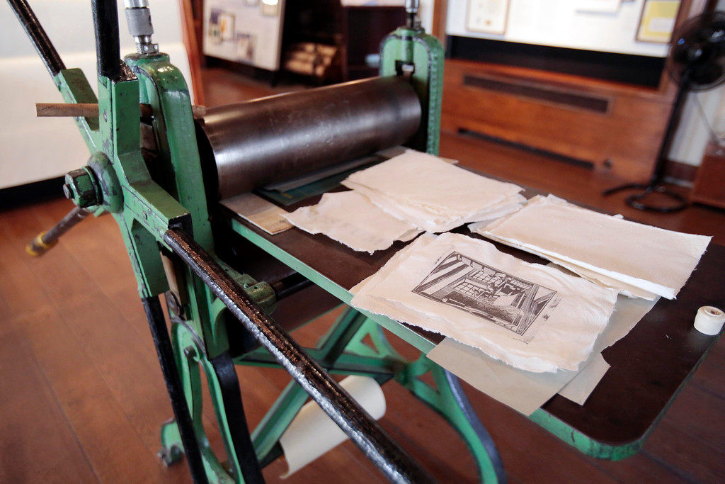 Description of . A press used to print and engrave bank notes on Crane paper at the Crane Museum of Papermaking in Dalton. Wednesday, Feb. 26, 2014. Photo by Stephanie Zollshan / Berkshire Eagle Staff.