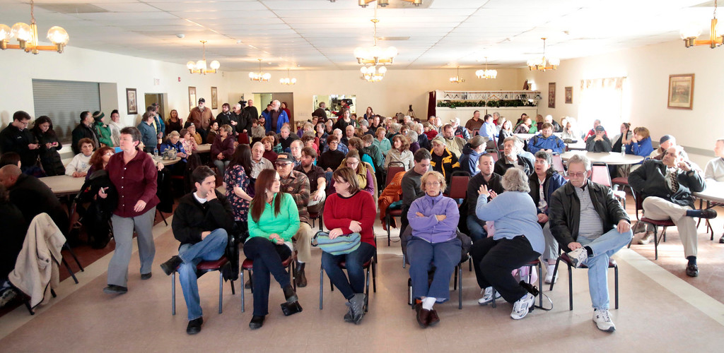 Description of . Hospital workers and community members fill the American Legion in North Adams for an emergency community meeting in the attempt to come up with a plan to save North Adams Regional Hospital after its sudden announcement Tuesday that it will close its doors for good on Friday morning. Wednesday, March 26, 2014. Stephanie Zollshan / Berkshire Eagle Staff / photos.berkshireeagle.com