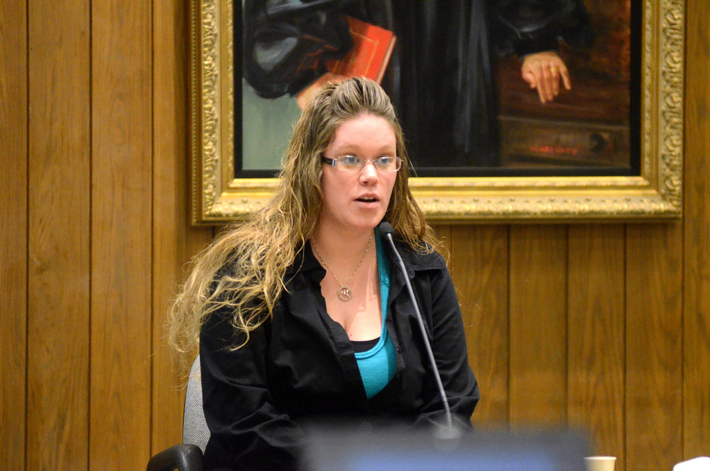 Description of . Kyli Picker of Pittsfield testifies in the Adam Hall trial in Springfield on Wednesday, January, 22, 2014. Gillian Jones/Berkshire Eagle Staff