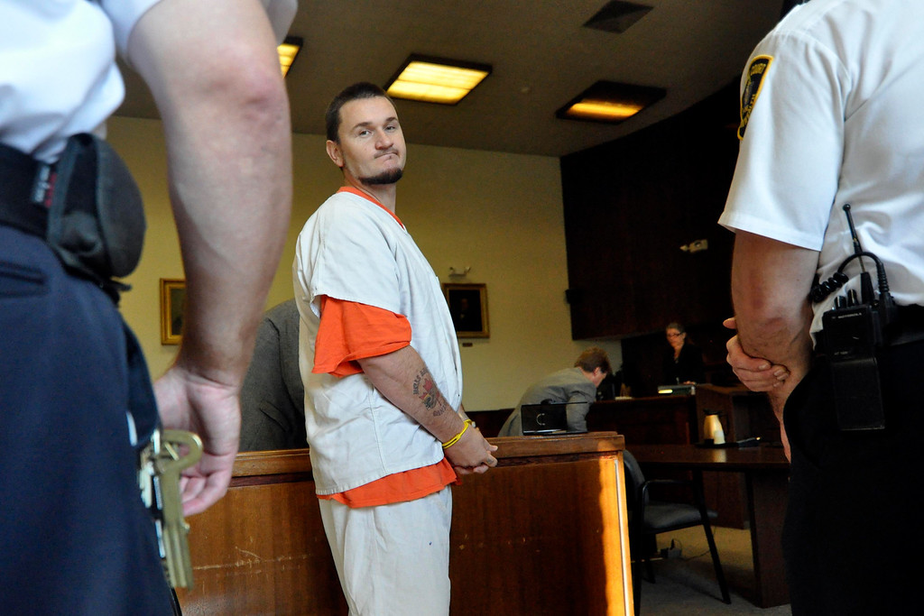 Description of . Adam Lee Hall enters Berkshire Superior Court for arraignment on multiple charges, including murder, Tue Oct 11, 2011 (GARVER)
