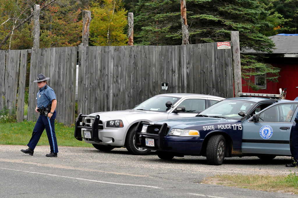 Description of . Massachusetts State Police gaurd the entrance to the Peru property of Adam Lee Hall on Main Street.  Thursday Sept 15, 2011 (GARVER)