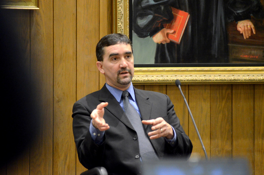 Description of . Police Sergeant Mark Trapani testifies in the Adam Hall trial in Springfield on Wednesday, January, 22, 2014. Gillian Jones/Berkshire Eagle Staff