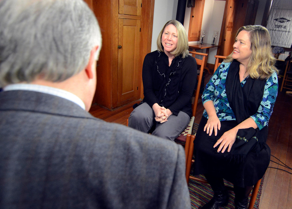 Description of . Jim Madigan of WGBY interviews Megan Whilden and HSV curator Leslie Hersberg at Hacock Shaker Village, Wednesday March 5, 2014. Ben Garver / BerkshireEagle Staff / photos.berkshireeagle.com