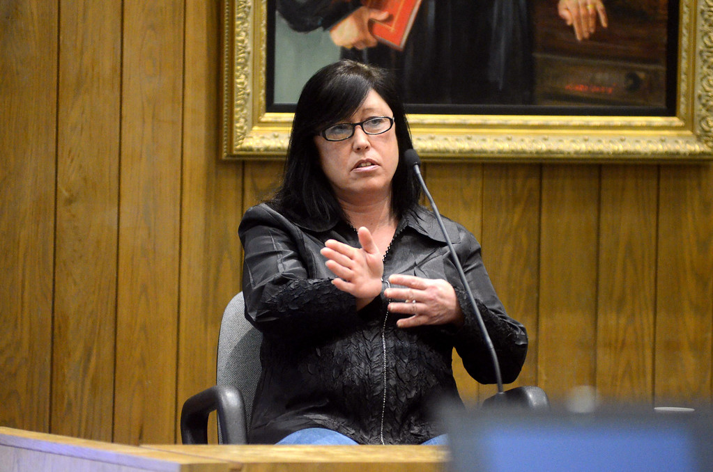 Description of . Ellyn Smith of Becket testifies in the Adam Hall trial in Springfield on Wednesday, January, 22, 2014. Gillian Jones/Berkshire Eagle Staff