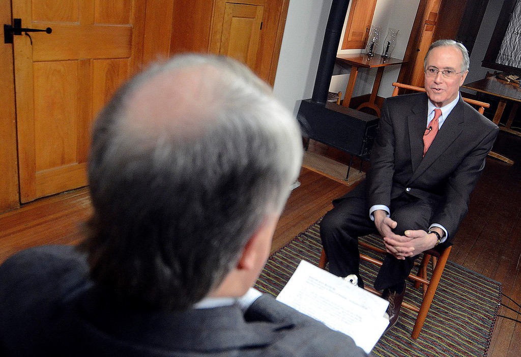 Description of . Jim Madigan of WGBY interviews Dan Bianchi at Hacock Shaker Village, Wednesday March 5, 2014. Ben Garver / BerkshireEagle Staff / photos.berkshireeagle.com