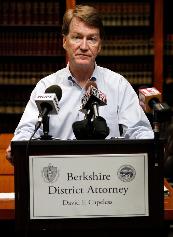 Description of . District Attorney David Capeless holds a press conference announcing that the remains of 44 year old David Glasser, 58 year old Edward S. Frampton and 47 year old Robert T. Chadwell, all of Pittsfield, were discovered in Berkshire County yesterday and continue to be recovered today. Sun September 11, 2011 (ZOLLSHAN)