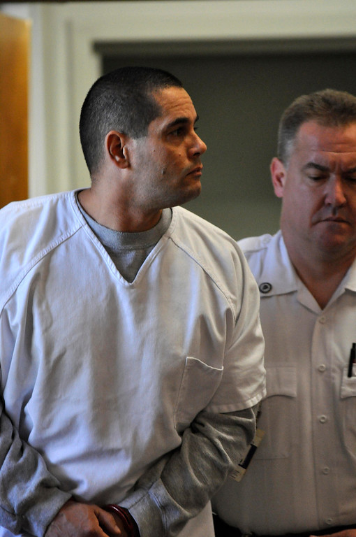 Description of . David T Chalue Is led into Berkshire Superior Court to be arraigned on multiple charges, including murder, Wed Oct 12, 2011 (GARVER)