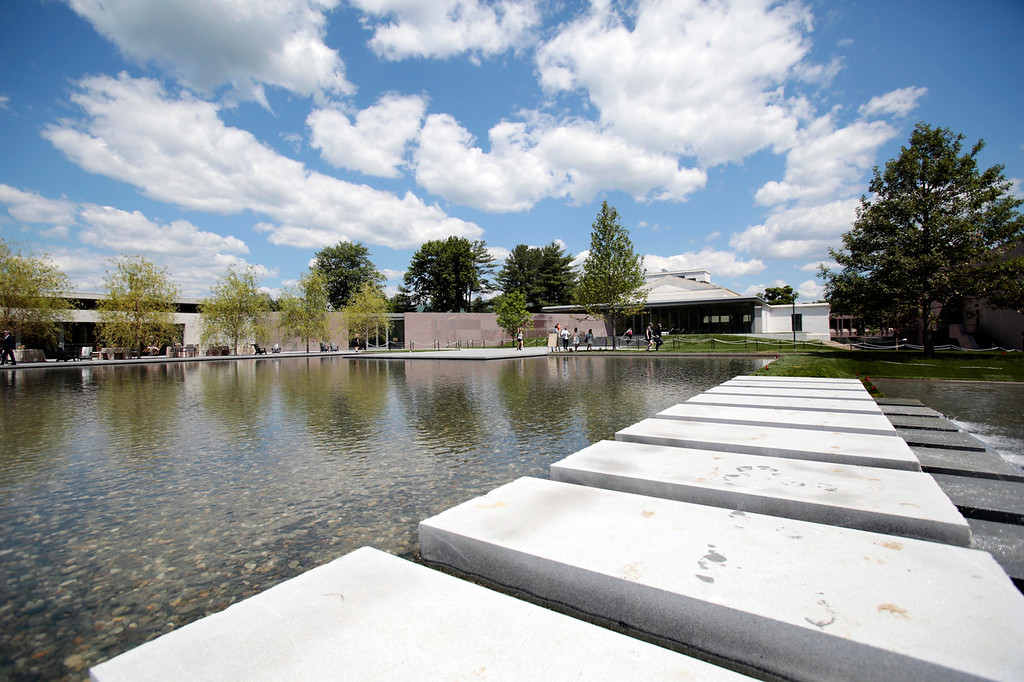 . A new one-acre reflecting pool is the focal point of the massive renovations that The Clark museum in Williamstown has undergone, surrounding a newly built building and the renovated museum gallery. Friday, June 27, 2014. Stephanie Zollshan / Berkshire Eagle Staff / photos.berkshireeagle.com