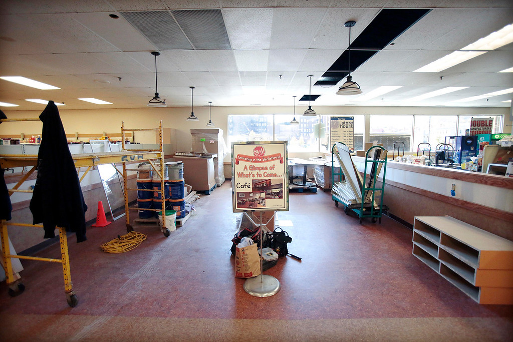 . One of the new features of the $1 million overhaul of the Big Y supermarket in North Adams, a cafe will be added. Big Y stores in Pittsfield, Adams, and North Adams have been undergoing major renovations. Monday, November 4, 2013. (Stephanie Zollshan | Berkshire Eagle Staff)