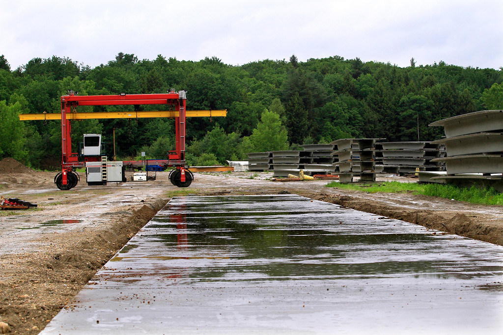 . Footings for one of three new casting areas that will be used when Unistress in Pittsfield begins its project manufacturing concrete beams for the new Tappan Zee bridge. Wednesday, June 11, 2014. Stephanie Zollshan / Berkshire Eagle Staff / photos.berkshireeagle.com