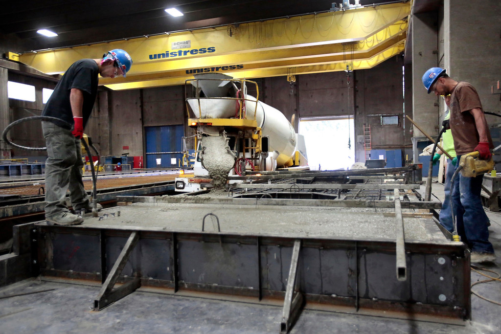 . In August, Unistress in Pittsfield will begin a project manufacturing concrete beams for the new Tappan Zee bridge. Wednesday, June 11, 2014. Stephanie Zollshan / Berkshire Eagle Staff / photos.berkshireeagle.com