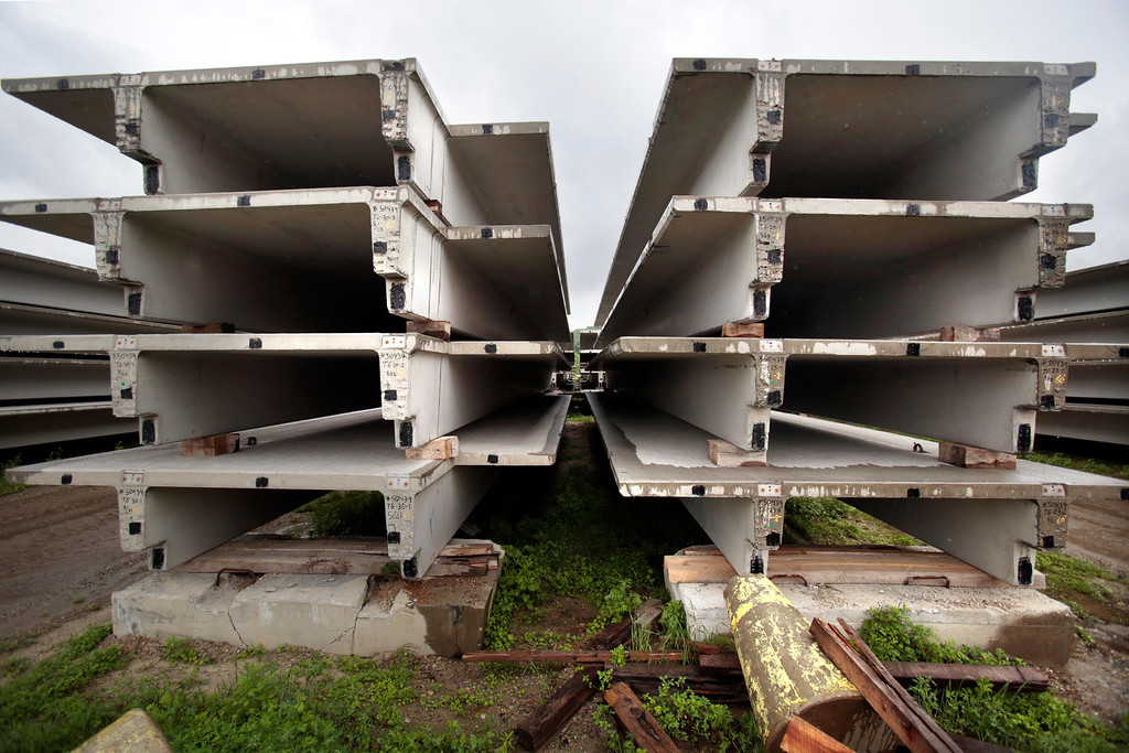 . Double-T concrete beams for parking garages currently occupy some of the space that will be used for storage at Unistress in Pittsfield when they begin their project manufacturing concrete beams for the new Tappan Zee bridge. Wednesday, June 11, 2014. Stephanie Zollshan / Berkshire Eagle Staff / photos.berkshireeagle.com