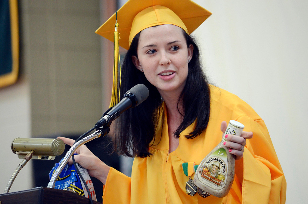 . Taconic Valedictorian Bailey C. Stokes brough pretzels and mustard dressing to graduation because it is a favorite of Taconic Principal John Vosberg. Sunday June 8, 2014.  Ben Garver / Berkshire Eagle Staff / photos.berkshireeagle.com