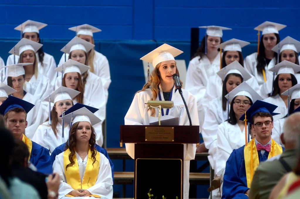 . Salutatorian Eleanor Cherry addresses her fellow graduates and friends and family during the Wahconah Regional High School graduation.  June 8 2014 Caroline Bonnivier Snyder