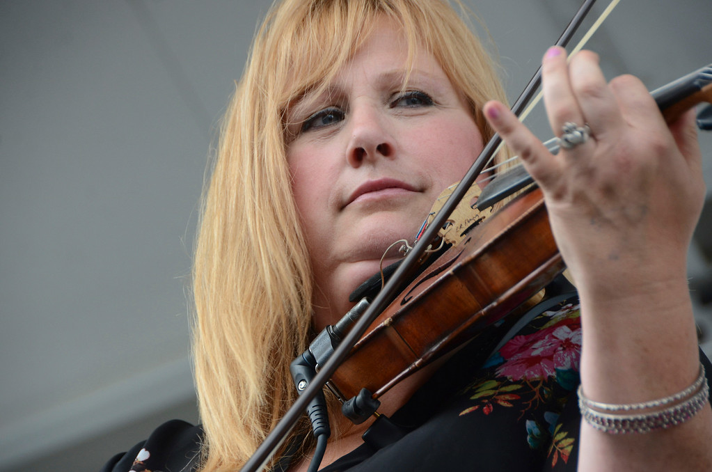 . Eileen Markland of Rakish Paddy plays the fiddle at the Pittsfield Ethnic Fair and Classic Car Show on North Street in Pittsfield on Sunday, July, 27, 2014. Gillian Jones / Berkshire Eagle Staff / photos.berkshireeagle.com