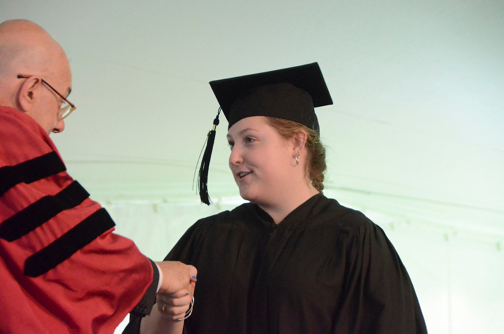 . Molly A. Ziegler of Great Barrington receives a bachelor of science in Biology from President Leon Botstein during Commencement Exercises at Simon\'s Rock of Bard College on Monday, May, 26, 2014. Gillian Jones / Berkshire Eagle Staff / photos.berkshireeagle.com