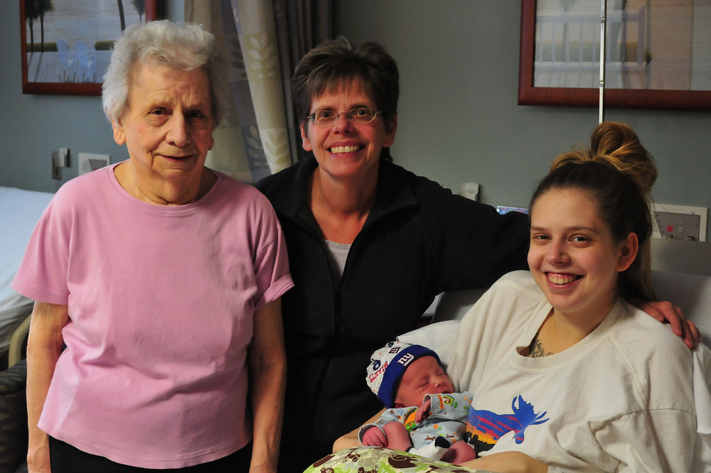 . Sarah Howard/North Adams Transcript  Elizabeth Vitro, Sue Emery, Molly Downing welcomed the 4th generation 7 pounds 7 ounced baby Harley Lesage early Tuesday morning at 5:55 am. Harley is the first baby of the new year at North Adams Regional Hospital in 2013.