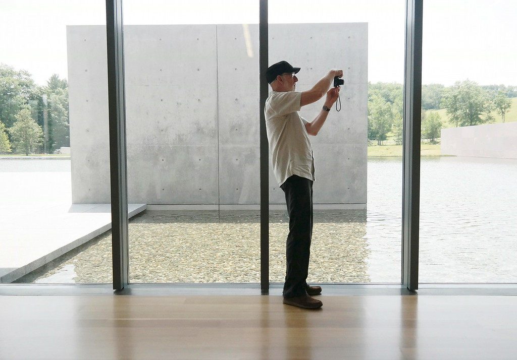 . Mike Zdeb photographs the forms in the  new addition to the museum.  Tuesday July 1, 2014.  Ben Garver / Berkshire Eagle Staff / photos.berkshireeagle.com