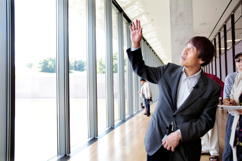 . Japanese architect Tadao Ando explains his inspiration from light and nature in his design of the new gallery building at The Clark museum in Williamstown. The museum has undergone massive renovations and will be re-opened to the public on July 4. Friday, June 27, 2014. Stephanie Zollshan / Berkshire Eagle Staff / photos.berkshireeagle.com