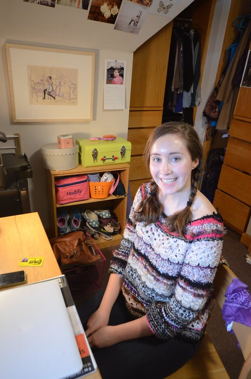 . Williams College student Madeline Seidmab is participating in the WCMA\'s Walls Program and has a print by Pierre-Louis Gatier titled \'La Toilette,\' in her dorm room at Sage Hall. Gillian Jones / Berkshire Eagle Staff / photos.berkshireeeagle.com