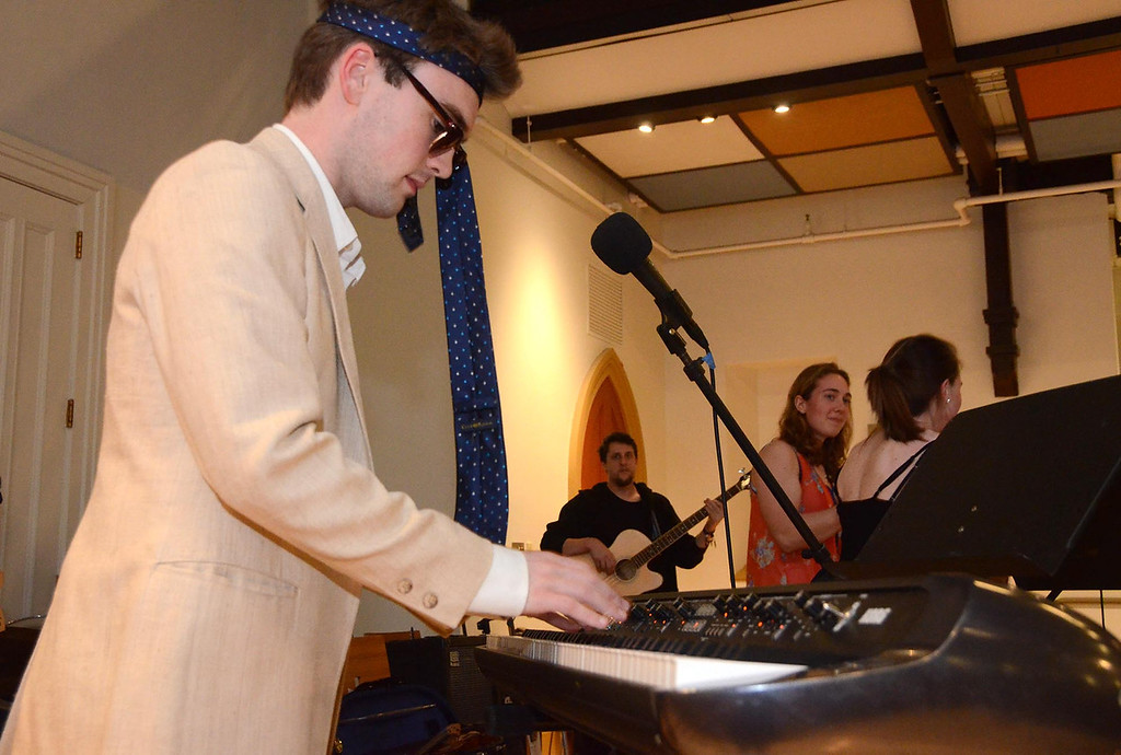 . Wiliams College students in Andy Kelly\'s music class performed in Goodrich Hall on Monday, January, 27, 2014, to raise money to help buy musical instruments for students at Crosby Elementary School in Pittsfield. Williams College junior Brice Green plays keyboard for the band \'Green and The Cowbells.\' Gillian Jones/Berkshire Eagle Staff