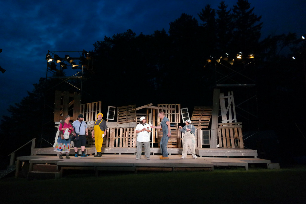 . Members of the cast of  A Midsummer Night\'s Dream reherse on the outdoor stage in Springside Park in Pittsfield.  Monday July 14, 2014.  Ben Garver / Berkshire Eagle Staff / photo.berkshireeagle.com