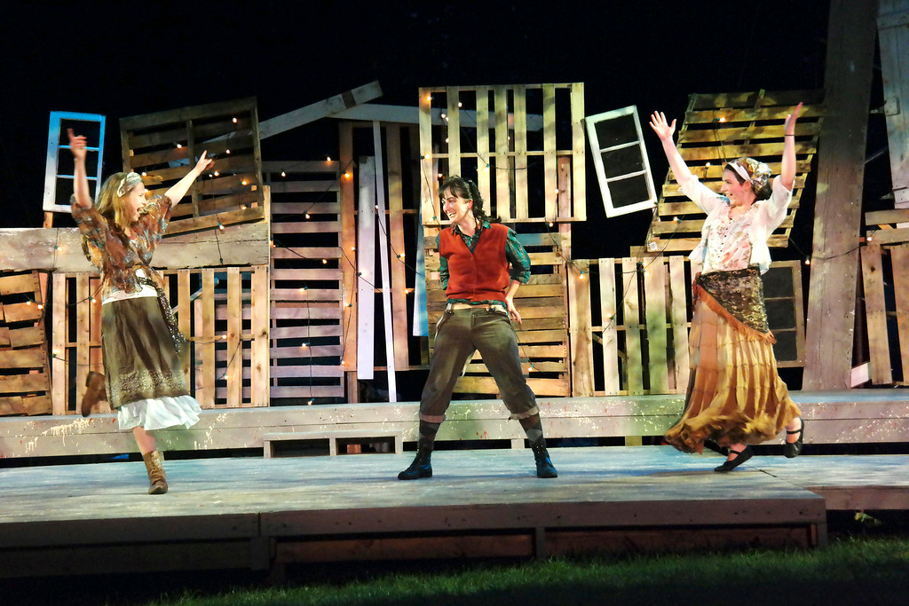 . Zoe Nadig, Maizy Broderick Scarpa and Claudia Maurino rehearse A Midsummer Night\'s Dream on the outdoor stage in Springside Park.  Monday July 14, 2014.  Ben Garver / Berkshire Eagle Staff / photos.berkshireeagle.com