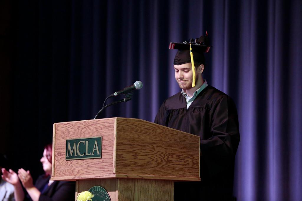 . Joseph King gives a moment of appreciation during the BART charter high school graduation at MCLA in North Adams. Saturday, June 7, 2014. Stephanie Zollshan / Berkshire Eagle Staff / photos.berkshireeagle.com