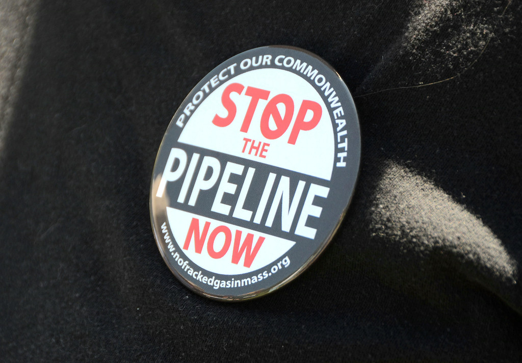 . A pin worn by a protester. Gillian Jones / Berkshire Eagle Staff / photos.berkshireeagle.com