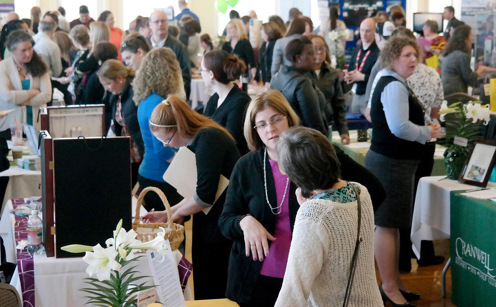 . A large number of job seekers attend the 2014 Berkshire Career fair at Berkshire Hills CC in Pittsfield, Thursday April 10, 2014.  Ben Garver/ Berkshire Eagle Staff / photos.berkshireeagle.com