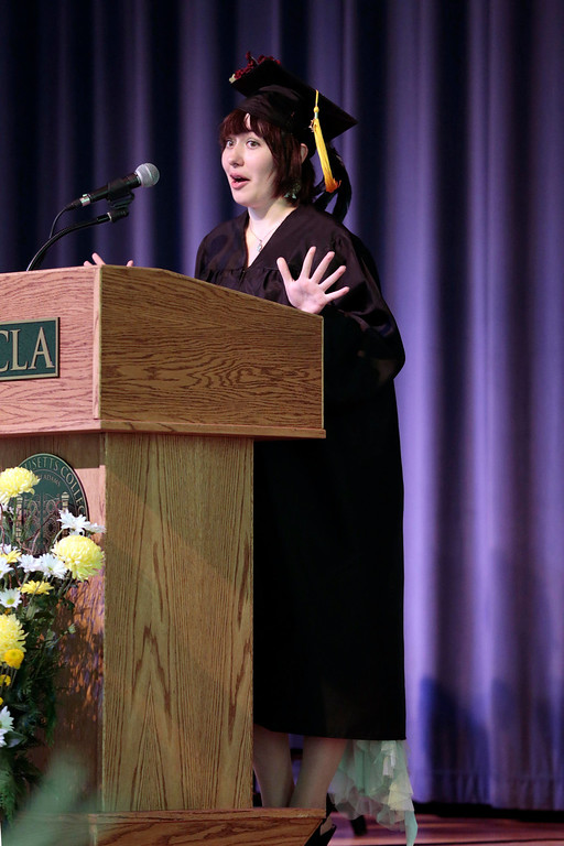 . Olivia Case speaks to the graduating class during the BART charter high school graduation at MCLA in North Adams. Saturday, June 7, 2014. Stephanie Zollshan / Berkshire Eagle Staff / photos.berkshireeagle.com