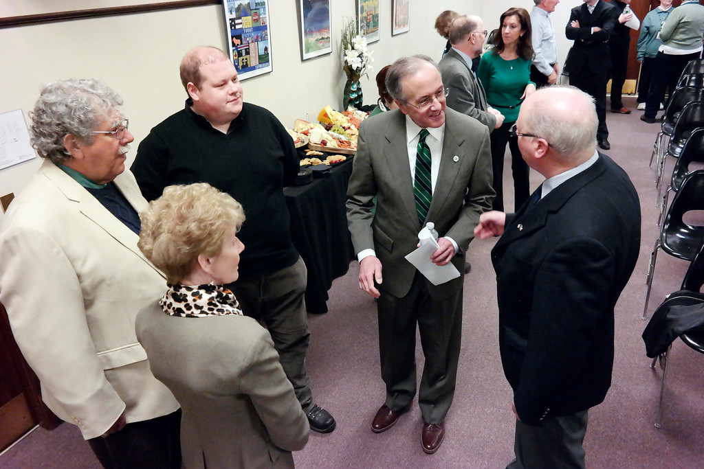 . Pittsfield Mayor Dan Bianchi meets with the delegation for Ballina, I reland at a reception in City Hall. Friday March 14, 2014. Ben Garver Berkshire Eagle Staff