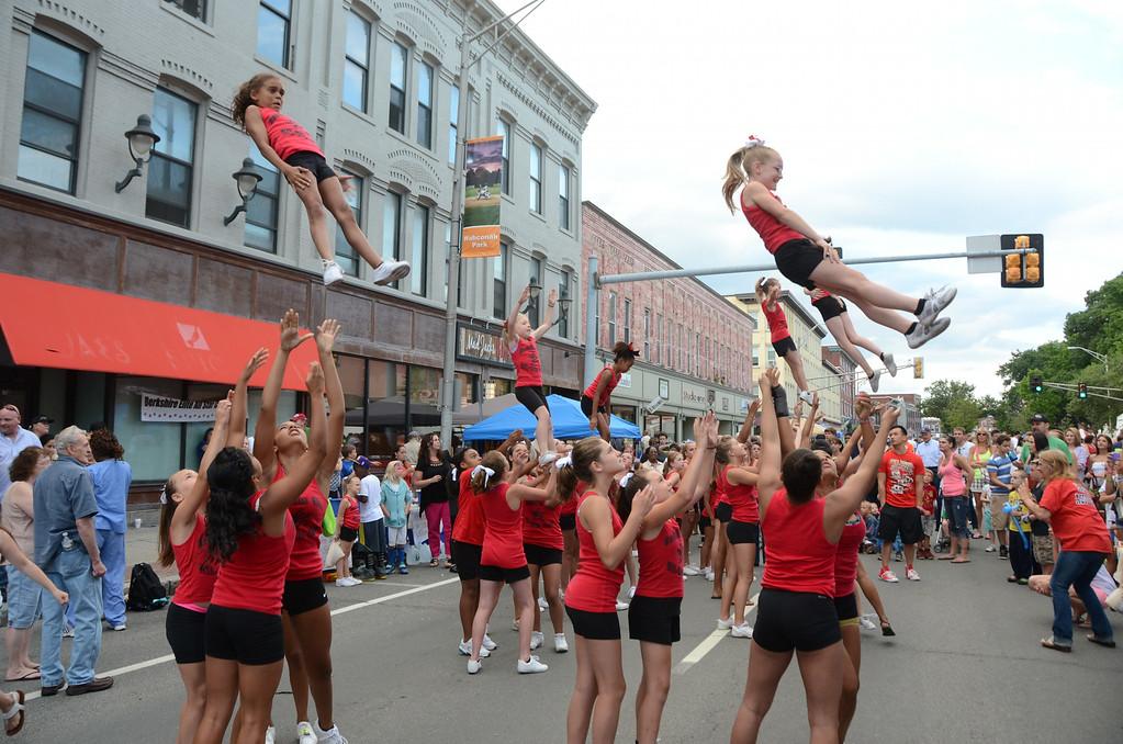 . The Berkshire Elite All Star Cheer Team perform on North Street for Third Thursday on July, 17, 2014. Gillian Jones / Berkshire Eagle Staff / photos.berkshireeagle.com