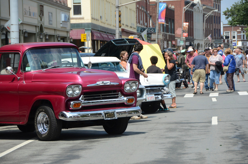 . Hundreds of people check out the classic cars at the Pittsfield Ethnic Fair and Classic Car Show on North Street in Pittsfield on Sunday, July, 27, 2014. Gillian Jones / Berkshire Eagle Staff / photos.berkshireeagle.com