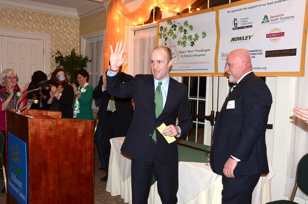 """. Massachusetts State Senator Benjamin B. Downing was honored as this year\'s Irish Person of the Year at the 13th Annual Robert \""""Bees\"""" Prendergast St. Patrick\'s Reception, a benefit for Hillcrest Educational Centers, Inc. at the Country Club of Pittsfield on Thursday, March 20, 2014. Gillian Jones / Berkshire Eagle Staff / photos.berkshireeagle.com"""