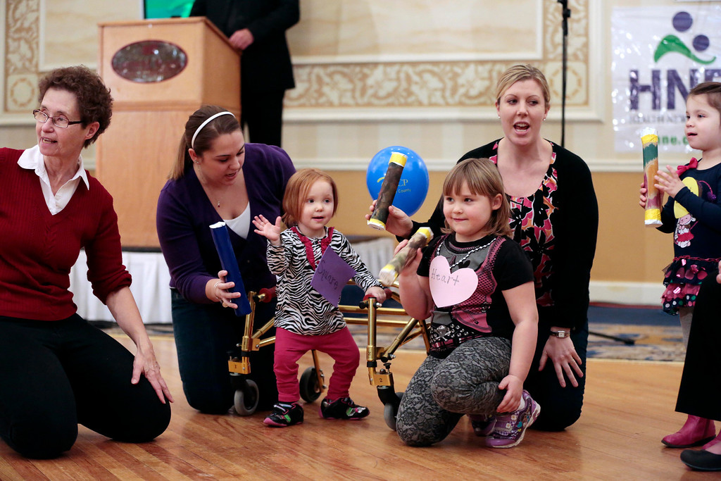 . Children enrolled in the  Early Intervention program at UCP North Adams do a demonstration on Sunday, Jan. 26, 2014, at the United Cerebral Palsy of the Berkshires telethon at the Crowne Plaza in Pittsfield. (Stephanie Zollshan | Berkshire Eagle Staff)
