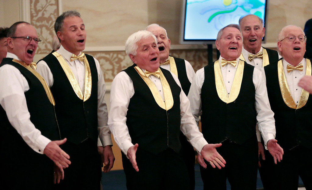 . The Berkshire Hillsmen perform at the United Cerebral Palsy of the Berkshires telethon at the Crowne Plaza in Pittsfield. Sunday, January 26, 2014. (Stephanie Zollshan | Berkshire Eagle Staff)